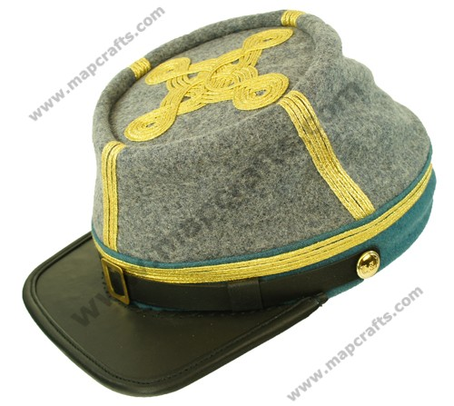 Civil War Berdans sharpshooter Green Leather Peak  Lt 1 row gold braid kepi