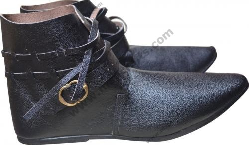 Hand Made Medieval Leather Shoes Black and Brown