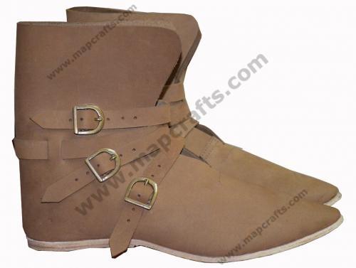 Medieval Shoes 3 Brass Buckle Shoes Renaissance Boot LIGHT BROWN
